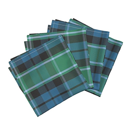 Roostery Tartan Linen Cotton Dinner Napkins XL Graham of Menteith Tartan (Ancient) by Weavingmajor Set of 4 Cotton Dinner Napkins Made