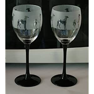 Greyhound dog gift black stem wine glasses