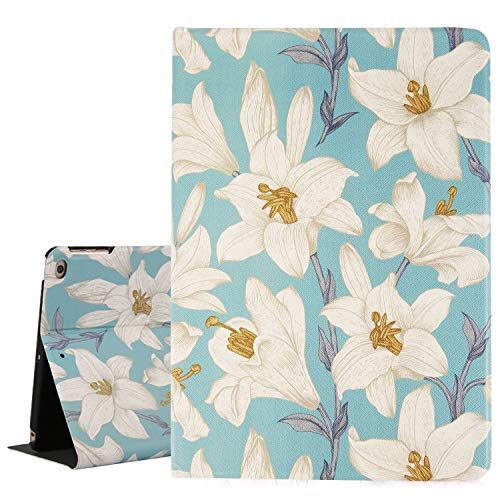 Floral iPad Air 1/2 Case, White Lily Flowers iPad 9.7 Case, Folio Stand Smart Tablet Case Cover for iPad 9.7 Inches Auto Sleep/Wake Up, Cute Women Girls Hard Back Cover for iPad 6th/5th Gen 2018 2017