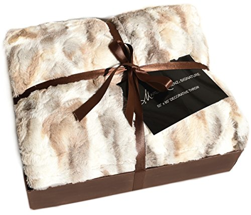 Marlo Lorenz Signature Russian Lynx Faux Fur Throw Plush Quilted Blanket Ivory Beige Tan Gray Gift Box