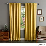 Cheap I Love Living Solid Insulated Thermal Blackout Curtain Panel Pair Mustard 52 x 108 108 Inches