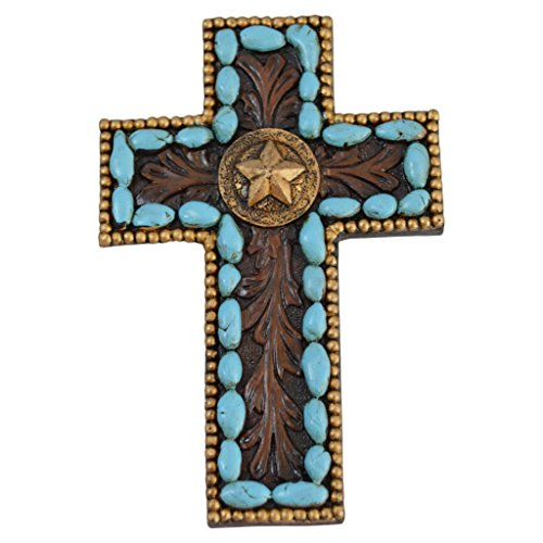 Pine Ridge Turquoise Pebble Wall Magnetic Cross Light Weight Polyresin Made Blue Hanging Cross with Star Centerpiece Decorative Home Decor ()