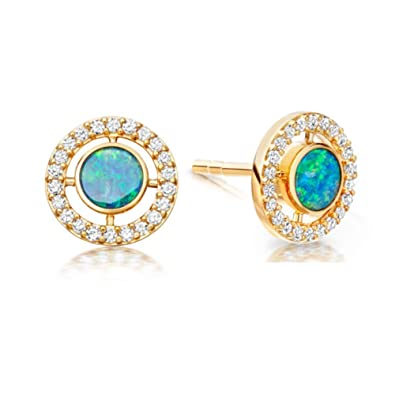 9ace58cdd I'S ISAACSONG 14K Gold Plated Round Created White Opal Bezel Set Halo Stud  Earrings for Women