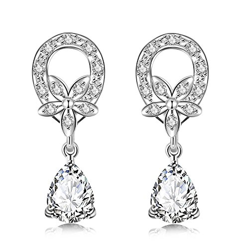 [Platinum or Gold Plated Sterling Silver Earrings Cubic Zirconia Stud Earrings Fashion Jewelry] (Middle Eastern Girl Costume)
