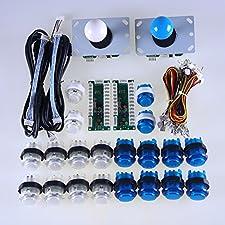 Easyget LED Arcade DIY Parts 2x Zero Delay USB Encoder + 2x 8 Way Joystick + 20x LED Illuminated Push Buttons for Mame Arcade Project & Raspberry Pi Retropie Projects White + Blue Kits
