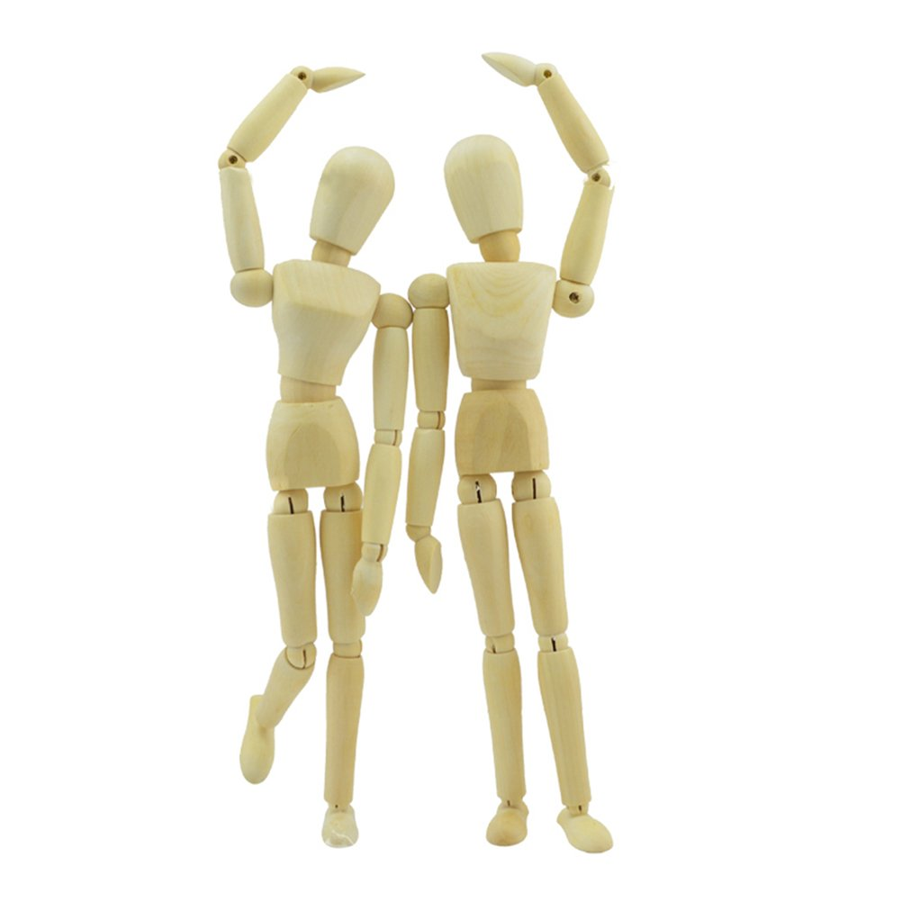 Wooden Drawing Model, Human Art posable Mannequin/Manikins for Drawing, 12''Tall.Male, with Base and Flexible Body, a Great Tool for Artists, Also Makes an Interesting Desk Decoration 12' ' Tall.Male HOMLICO