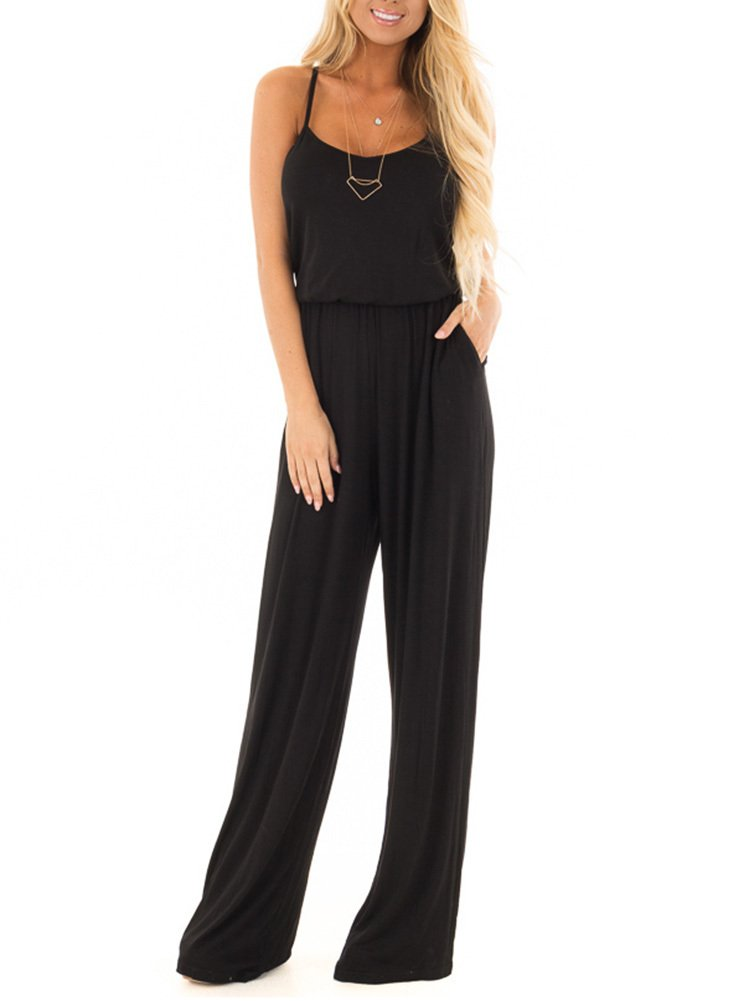 Women Summer Casual Loose Spaghetti Strap Sleeveless Open Back Wide Leg Long Pants Romper Jumpsuits Black Medium