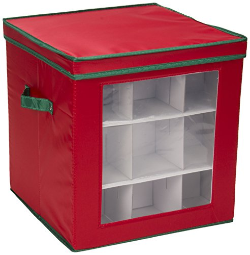 Household Essentials 552RED Medium Christmas Tree Ornament Storage Box | Stores Up to 27 Xmas Ornaments | Red Bin with Green Trim ()