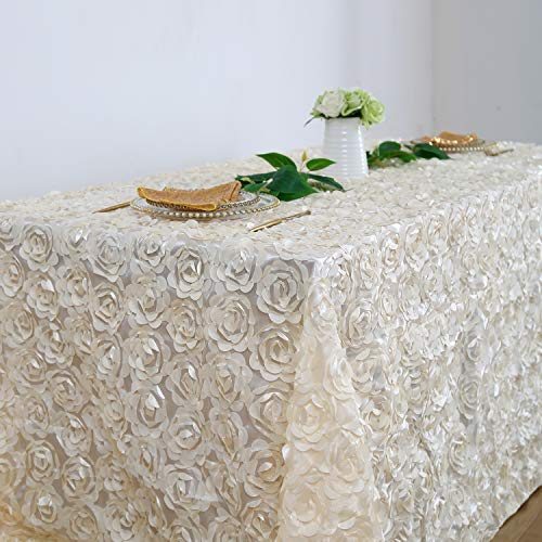 Gold Ivory Tablecloth - Fanqisi Ivory 90 x156 Inches Satin Raised Rosettes Rectangle Tablecloth for Engagement Ceremony Wedding Table Decoration