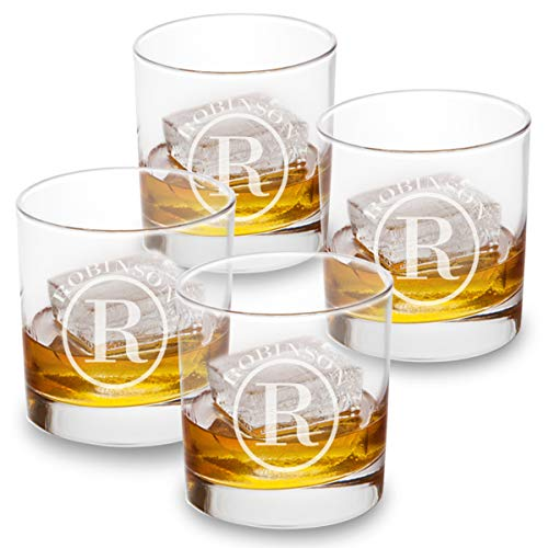 Personalized Lowball Whiskey Glasses - Monogrammed Lowball Whiskey Glasses - Set of 4 (Glasses Monogrammed Cocktail)