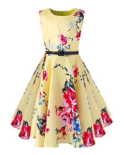 Kidsform Girls Sleeveless Dress Floral Print Casual A-Line 1950s Vintage Rockabilly Swing Party Dresses 6-12 Years