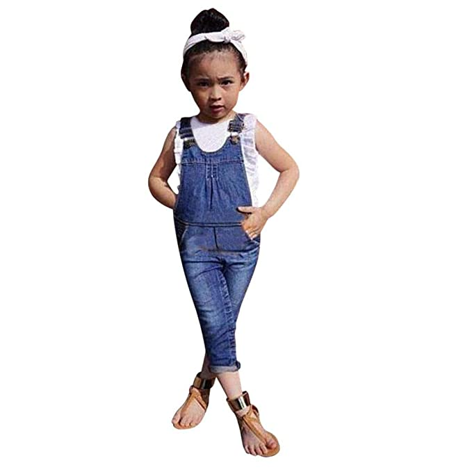 GoodLock Baby Girls Fashion Clothes Toddler Kids Denim Vest +Overalls Pants Outfits Set 2Pcs