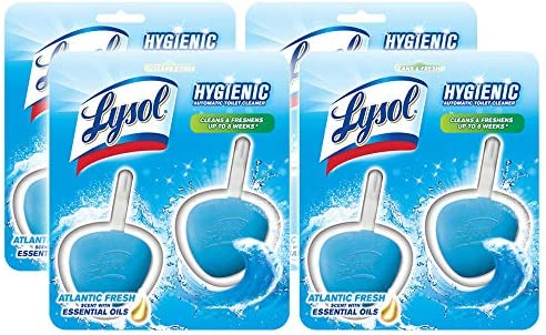 Lysol Hygienic Automatic Toilet Bowl Cleaner, Atlantic Fresh 2 ct (Pack of 4)
