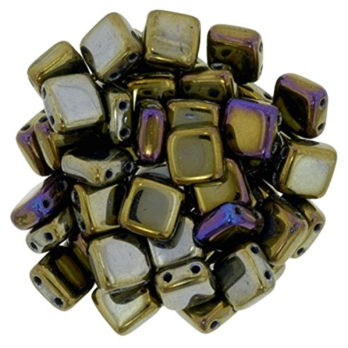 (Czechmate 6mm Square Glass Czech Two Hole Tile Bead - Iris Brown)