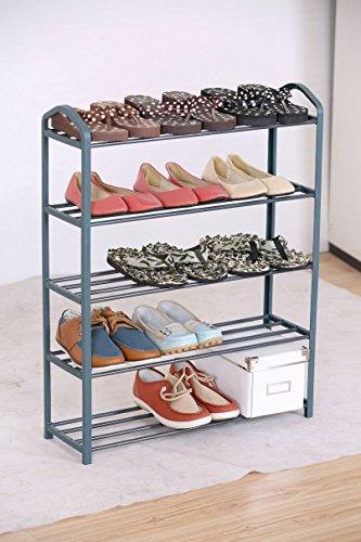 Metall Schuhregal mit 5 Etagen - für bis zu 15 Paar Schuhe - Stabile Schuhablage