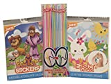 Easter Fun Party Pack For Kids - Stickers, Temporary Tattoos, Color Changing Straws