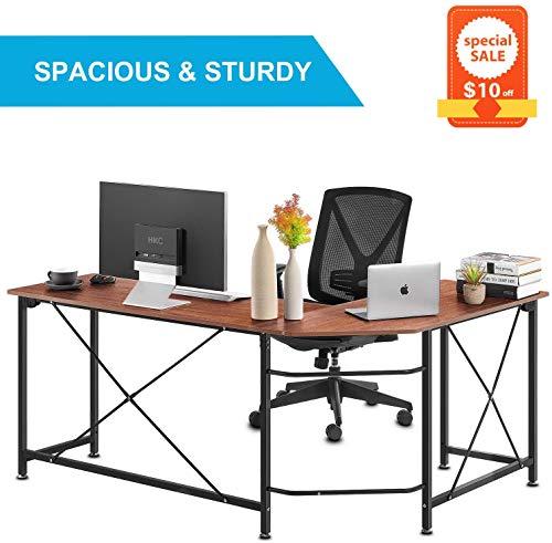 Computer Desk, Modern Style Office Desk with 4 Tier Bookshelves Workstation, Study Table, Writing Desk, Home Wood Metal Black
