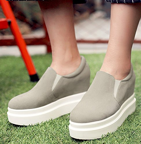 IDIFU Womens Casual Low Top Wedge Platform Shoes Slip On Sneakers With Heels Inside Gray 1yRndmp