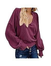 WUAI-Women Casual Long Sleeve Loose V Neck Pleated Tops Blouse Cotton Linen T-Shirts