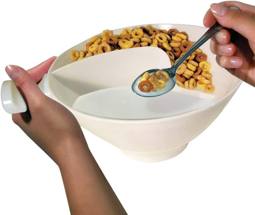 300ml Multifunctional 2 Parts No Soggy Cereal Separate Bowl Home Isolated Bowl Snack Separated Bowl Creative Separate Bowl with Handle