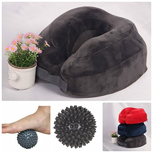 Neck Pillow Travel Cushion Memory Foam With Strap and massage ball - Truck Stress Ball
