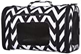 Ever Moda Chevron Pet Carrier Purse (16 Inch, Black)