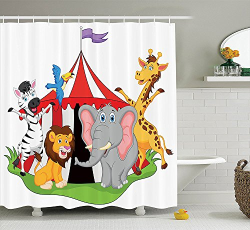 [Circus Decor Collection Trained Performer Acrobat Animals in Circus Tent Happy Giraffe Elephant Joyful Art Polyester Fabric Bathroom Shower Curtain Set Red Green] (Circus Acrobat Costume Ideas)