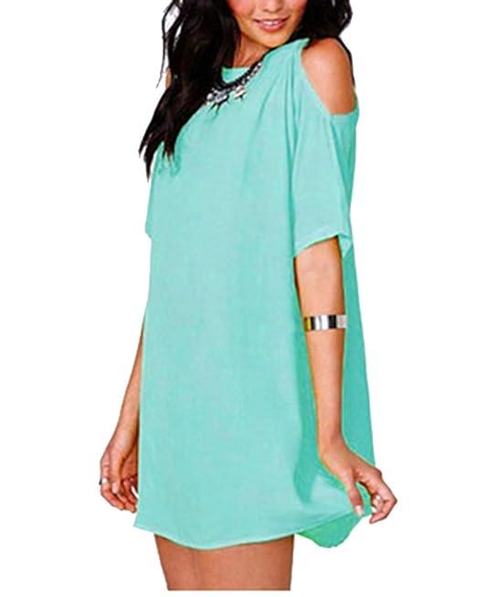 MISSMAO Mujer Blusa Casual Vestido Camiseta 3/4 Mango Blusa Cuello En V Hombro Frío