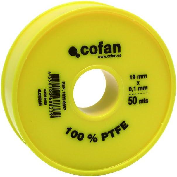 Cofan 10390037 Rollo de cinta PTFE 50 m 19 mm x 0.10 mm