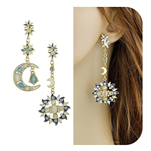 Feelontop Hot Selling Fashion Sparking Imitation Crystal Stars Moon and Sun Long Drop Earrings with Jewelry Pouch (Blue)