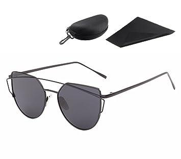 Gafas de Sol Cateye con viajes portátiles Zipper funda de los vidrios para mujeres, Pawaca Reflejado Lentes planas Calle Moda moderna Marco de metal ...