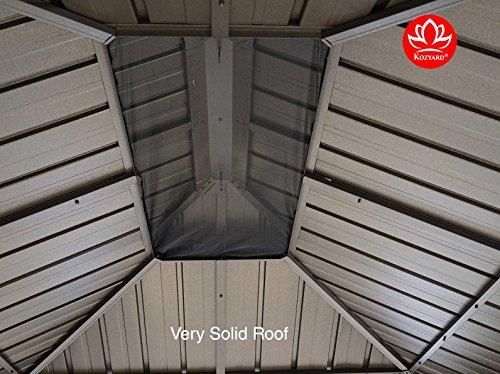 Kozyard Alexander 10'x12' Hardtop Aluminum Permanent Gazebo with 2 Layers Sidewalls(Alexander 10'x12')