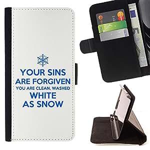 BullDog Case - FOR/Samsung Galaxy A3 / - / YOUR SINS ARE FORGIVEN /- Monedero de cuero de la PU Llevar cubierta de la caja con el ID Credit Card Slots Flip funda de cuer