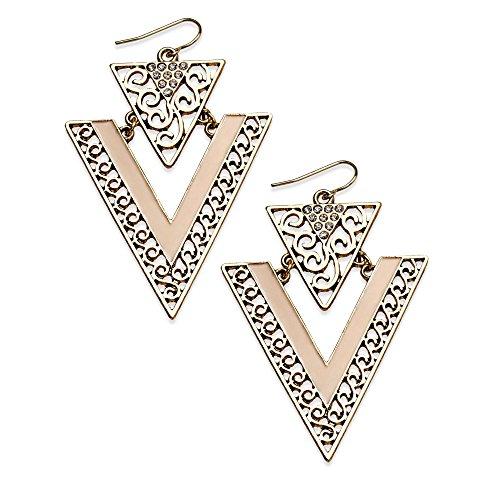 American Rag Earrings, Gold-Tone Cream Enamel Chevron Filigree Drop Earrings