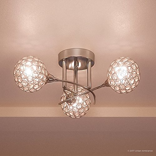 Luxury Crystal Globe Semi-Flush LED Ceiling Light, Large Size: 7