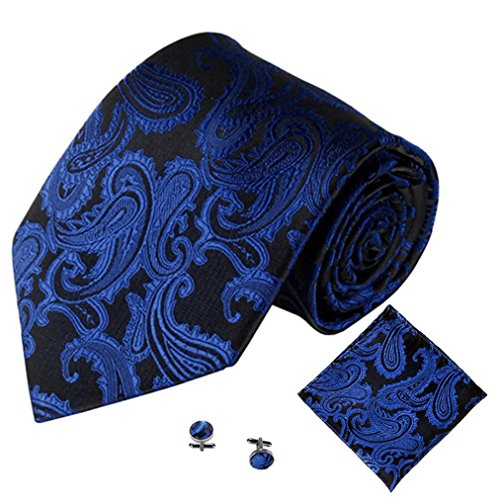 quard Holiday, Party, Wedding and Daily Wear Necktie Set,with Pocket Square Handkerchief and Cuff Link (Dark Blue) (Holiday Necktie)