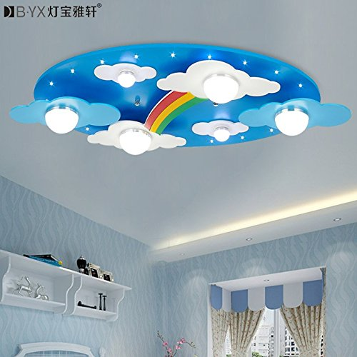 BL Modern European style Warm clouds Rainbow children's rooms lighting light LED ceiling lamp for boys and girls bedroom lamp cartoon 730*400*120mm , Blue,Ceiling Lamp (110-120V)