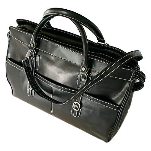 Black Custom Calf Accessories - Floto Unisex Custom Initials Personalization Casiana Tote Carryon Italian Polished Calf-Skin Leather (Custom Black)