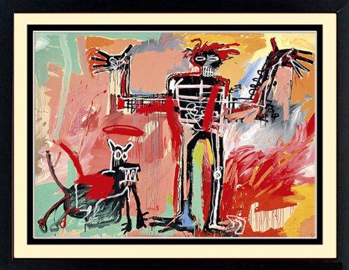 Basquiat Art Custom Framed Print Boy and Dog 24x32 Inches