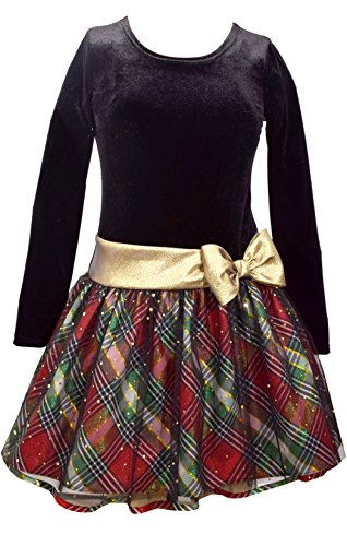 Bonnie Jean Girls Plaid Sparkle Gold Bow Hipster Dress (10, Multicolor)