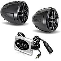 Lanzar 800W Bluetooth Wireless Motorcycle Speaker - w/Built-in Micro Amplifier, 3.5mm AUX IN - Includes Two 3 Waterproof Speakers - Handlebar Mount ATV Mini Stereo Audio Receiver Kit Set OPTIAT94A