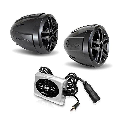 Lanzar Bluetooth Wireless Motorcycle Speaker 800W W  Built In Micro Amplifier  3 5Mm Aux In   Includes Two 3  Waterproof Speakers   Handlebar Mount Atv Mini Stereo Audio Receiver Kit Set   Optiat94a