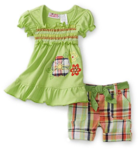 Young Hearts Baby Girls' Tunic With Plaid Bermuda Short Set