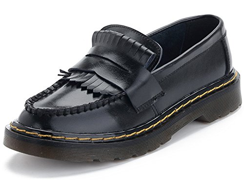 Summerwhisper Loafers on Flats Top Women's Shoes Low Toe Trendy Round Fringe Oxfords Black Leather Slip r1rTwq0a