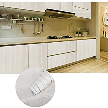 KINLO Aufkleber Küchenschränke 0.61x5M Weiß Holz Möbelfolie PVC ...