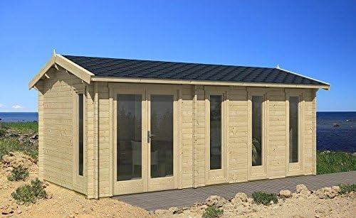 Jardín Casa Nice de 40 Casa de vacaciones bloque madera casa 300 x 575 cm – 40 mm: Amazon.es: Jardín