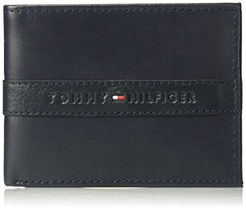 Tommy Hilfiger Men's Leather Wallet - RFID Blocking Slim Thin Bifold with Removable Card Holder and Gift Box, Ranger - Navy