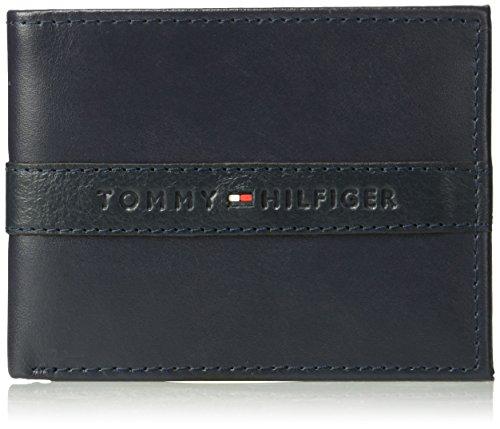 Tommy Hilfiger Men's RFID Blocking Leather Ranger Passcase Wallet, navy