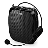 Wireless Voice Amplifier, SHIDU S615 Stable UHF Amplifiers 10Watts with 1800mAh Rechargeable Lithium Battery, Clear Sound for Teaching, Singing, Presentations and More(615-Black)