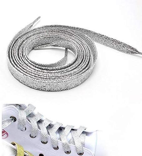 YJZG 靴ひもを実行しているスニーカーメタリックグリッターシャイニーゴールドの靴紐シルバーフラット靴ひもスポーツのカラフルな男性の女性の靴ひも (Color : Silver)